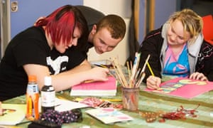 An art activity at a youth club at the Family Action in Rogerfield & Easterhouse project