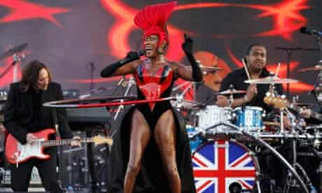 Grace Jones sings Slave to the Rhythm at the diamond jubilee concert