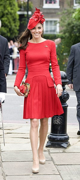 Jubilee fashion: Catherine Duchess of Cambridge at the Queen's river pageant