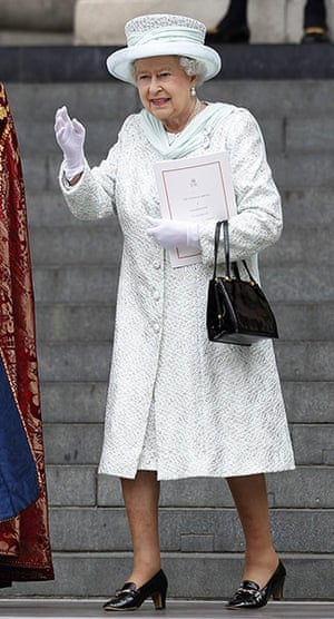 Jubilee fashion: The Queen waves as she leaves St Paul's Cathedral
