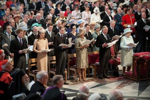 Service Of Thanksgiving: The Queen, Prince Charles, Camilla, Duchess of Cornwall, Prince William