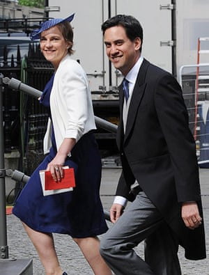 Service Of Thanksgiving: Labour leader Ed Miliband and his wife Justine arrive for the service