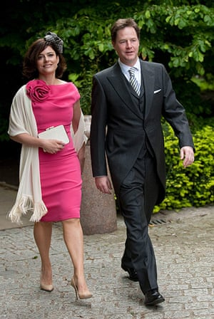 Service Of Thanksgiving: Nick Clegg and his wife Miriam Gonzalez arrive