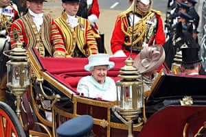 Jubilee celebrations: The Queen on her way back to Buckingham Palace from Westminster Hall