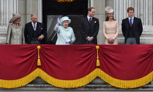 Jubilee celebrations: Britain's Queen Elizabeth waves as she stands with the Duchess of Cornwall
