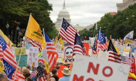 Protesters march against healthcare reform in the US