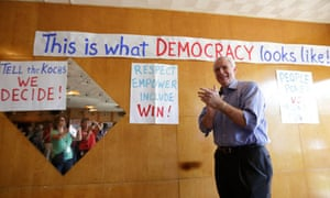 Gubernatorial candidate Tom Barrett campaigns at the Racine Labor Center in Racine, Wisconsin
