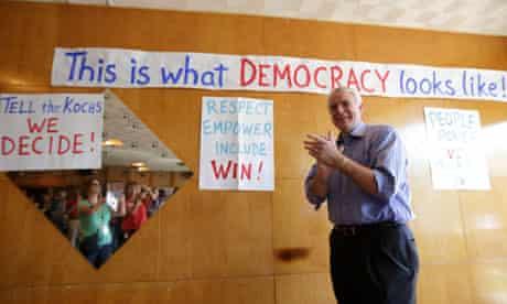 Gubernatorial candidate Tom Barrett campaigns at the Racine Labor Center in Racine, Wisconsin