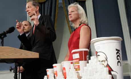 New York's health commissioner, Thomas Farley, announcing Mayor Bloomberg's ban on big soda drinks