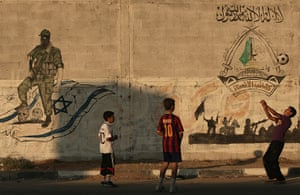 Gaza life: Palestinian boys play football