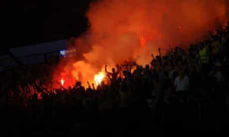 Crowd scene in Metalist stadium, Kharkiv, Ukraine