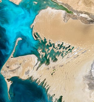 Satellie Eye on Earth: Part of a country mostly covered by desert, the Dardzha Peninsula