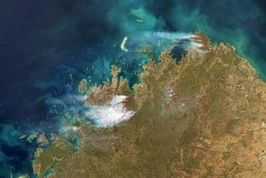 Satellie Eye on Earth:  dozens of fires in the Kimberley region of Western Australia.