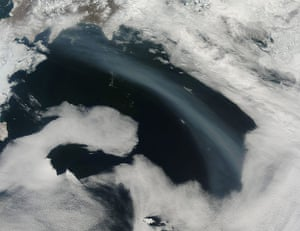Satellie Eye on Earth: A plume of smoke stretched across the Bering Sea