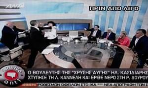 Ilias Kasidiaris assaults Liana Kanelli