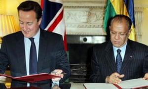 David Cameron and Navinchandra Ramgoolam