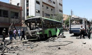 Remains of vehicle in Damascus after explosion