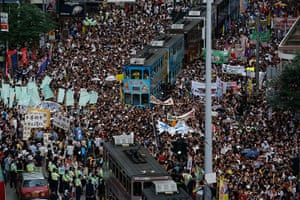 Hong Kong demonstrations: Tens of thousands of Hong Kong residents march in the annual pro-democracy