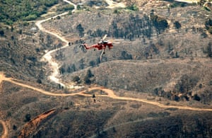 Wildfires in Colorado: A helicopter flies over the aftermath of the Waldo Canyon Fire
