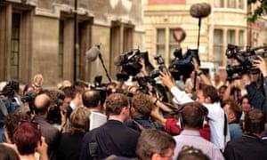 Media scrum in London