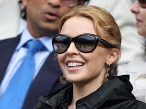 Kylie Minogue in happier times, at Wimbledon on 6 July 2012.