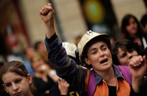 Longer view miners: Relatives of coal miners protest at the Regional Parliament in Oviedo