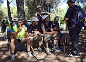 Longer view miners: Spanish coal miners from Leon and Asturi rest in Las Rozas