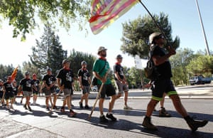 Longer view miners: Coal miners walk during the last stage of their march to Madrid