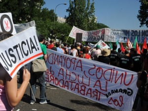 Spanish coal miners demonstrate in Madrid, on July 11, 2012.