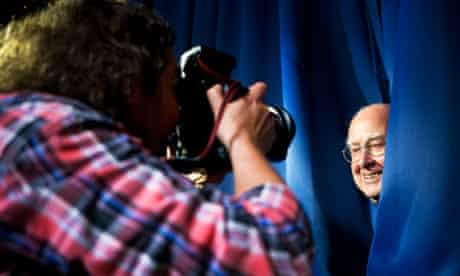 Professor Peter Higgs, of Higgs boson fame, is photographed at a press conference