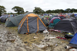 Wet festivals update: Muddy campsite at the Isle of Wight festival