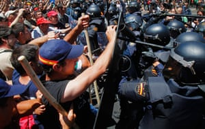 Miners reach Madrid: Demonstrators clash with riot police during the coal miner's march