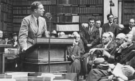 Julian Huxley addresses a room full of men
