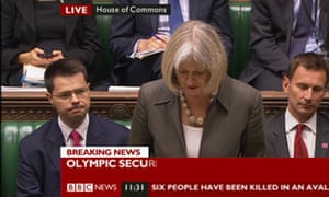 Theresa May speaking in the Commons on 12 July 2012.