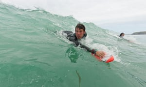 Hand planing in Watergate Bay, Cornwall