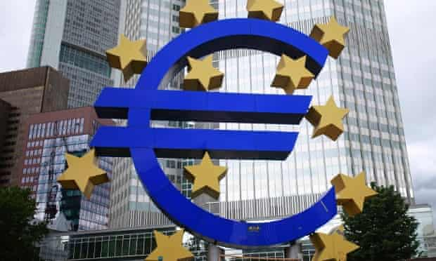 A structure showing the Euro currency sign is seen in front of the European Central Bank (ECB) headquarters in Frankfurt July 11, 2012.