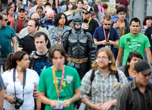 Comic con: Fans walk to Comic-Con held at the San Diego Convention Centre