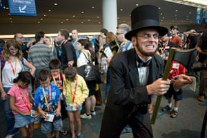 Comic con: Russel Brown dressed as Abraham Lincoln