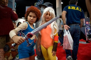 Comic con: Declan Morden and Athena Cardier dressed as characters from Thundercats