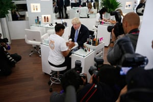 Olympic Village: London mayor Boris Johnson visits a salon