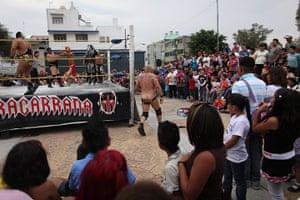 Lucha Libre, Mexico: Mexican Lucha Libre wrestler Johnny Villalobos, walks around the ring