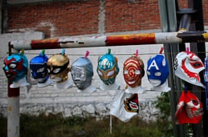 Lucha Libre, Mexico: Lucha Libre wrestling masks are attached with clothespins to a wire