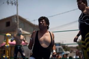 Lucha Libre, Mexico: Lucha Libre wrestler Desafio grimaces