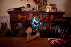 Lucha Libre, Mexico: Young wrestler Edgar Leal, 11 before his performance
