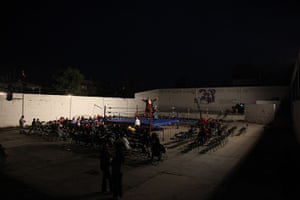 Lucha Libre, Mexico: Lucha Libre wrestler performs on a makeshift wrestling ring in a schoolyard