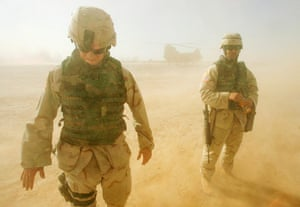 US Army Camouflage: U.S army soldiers stand in sand