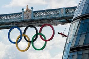 Streb Dance London: Dancers perform an acrobatic abseil down City Hall