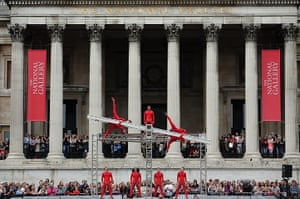 Streb Dance London: Dancers perform in front of the National Gallery, Trafalgar Square