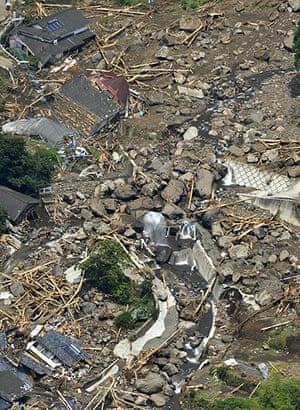 Floods in Japan: Houses are buried in a landslide in Aso, Kumamoto Prefecture, Japan