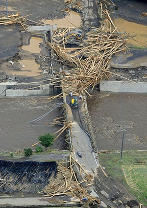 Floods in Japan: Riverbanks are covered with mud and wood in Taketa, Oita Prefecture